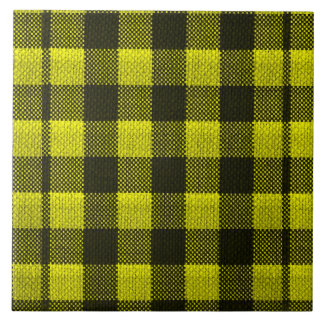 Yellow Gingham Checkered Pattern Burlap Look Tile