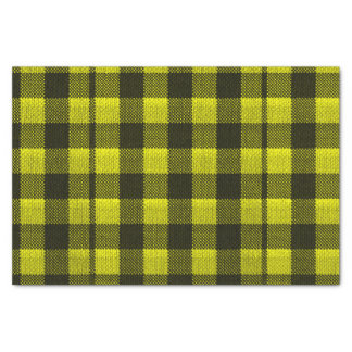 Yellow Gingham Checkered Pattern Burlap Look Tissue Paper