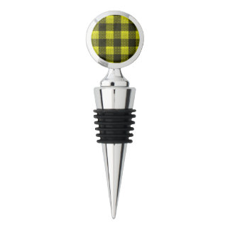 Yellow Gingham Checkered Pattern Burlap Look Wine Stopper