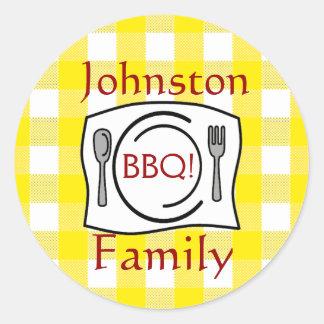 Yellow Gingham Family Reunion BBQ Round Sticker