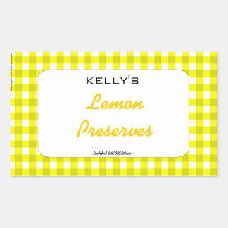 Yellow gingham lemon preserves label