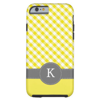 Yellow Gingham Pattern Monogram Tough iPhone 6 Case