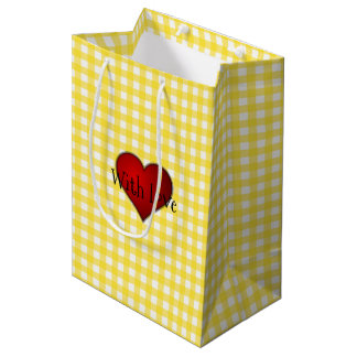 Yellow Gingham Red heart With Love Medium Gift Bag