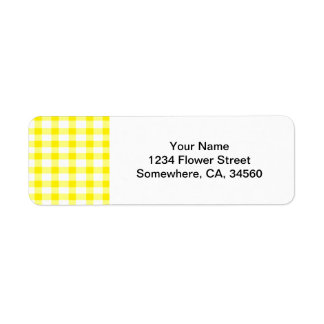 Yellow Gingham Return Address Label