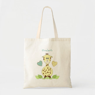 Yellow Giraffe personalized toy tote bag