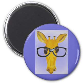 Yellow Giraffe with Glasses Magnet