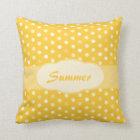 Yellow girls name polka dot pillow