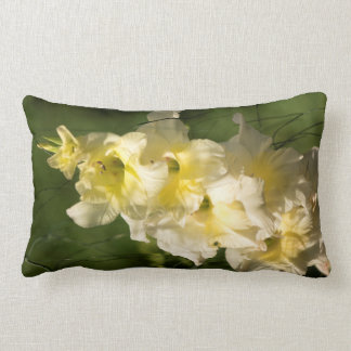 Yellow Gladiolus Flower Spike Lumbar Pillow