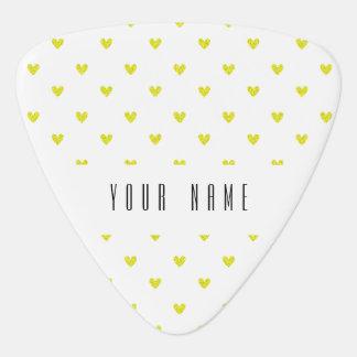 Yellow Glitter Hearts Pattern Pick