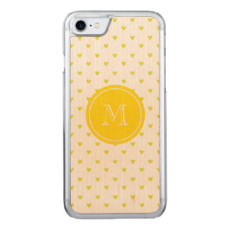 Yellow Glitter Hearts with Monogram Carved iPhone 7 Case