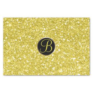 Yellow Glitter Sparkle Glam Monogram Initial Tissue Paper