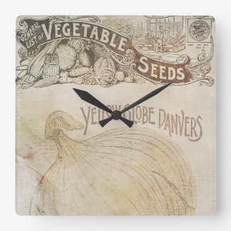 Yellow Globe Danvers Vegetable Seeds Vintage Square Wall Clock