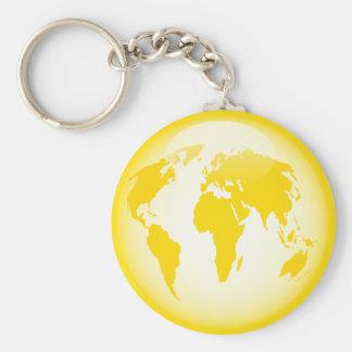 Yellow Glossy Globe Basic Round Button Keychain