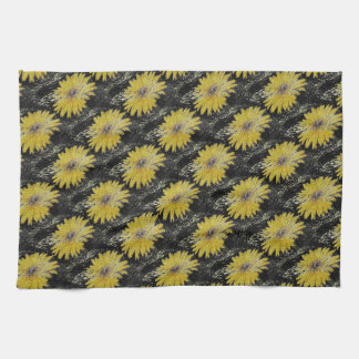 Yellow, gold and black, Gerber Daisy kitchen towel