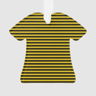 Yellow Gold and Black Plaid Striped Ornament