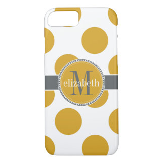 Yellow Gold and Gray Big Polka Dots Monogram iPhone 8/7 Case