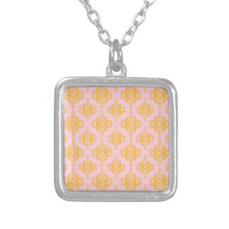 Yellow Gold and Pink Damask Pattern Custom Jewelry