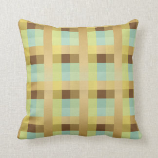 Yellow, Gold, Brown, Mint and White Plaid Throw Pillow