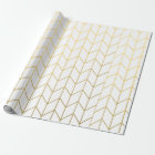 Yellow Gold Chevron White Modern Chic Wrapping Paper