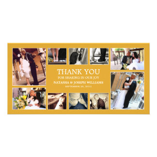 YELLOW GOLD COLLAGE | WEDDING THANK YOU CARD PHOTO CARDS