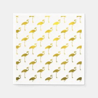 Yellow Gold Flamingo Faux Metallic Foil Tropical Disposable Napkins