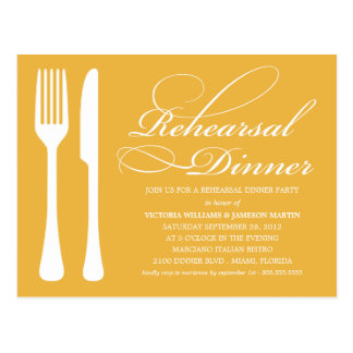 YELLOW GOLD FLATWARE | REHEARSAL DINNER INVITE POSTCARD
