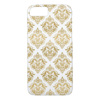 Yellow Gold Floral Damasks Geometric Pattern iPhone 8/7 Case