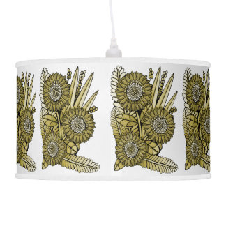 Yellow Gold Gerbera Daisy Flower Bouquet Pendant Lamp