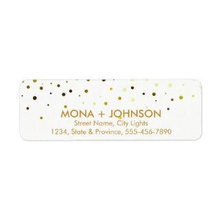 Yellow Gold Glitter Sparkle Confetti Dots Modern Return Address Label