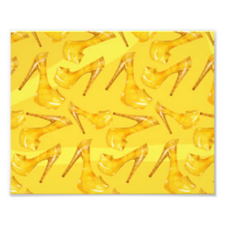 Yellow Gold High Heels Pattern Print Design