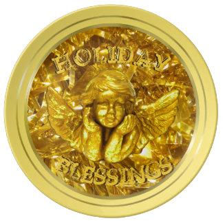 YELLOW GOLD HOLIDAYS BLESSINGS,  CHRISTMAS PLATE