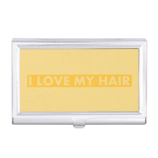 Yellow Gold I Love My Hair Cutout Business Card Holder