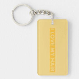 Yellow Gold I Love My Hair Cutout Keychain