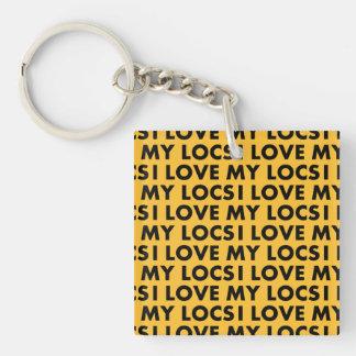 Yellow Gold I Love My Locs Text Cutout Keychain