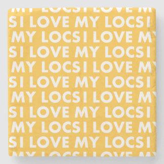 Yellow Gold I Love My Locs Text Cutout Stone Coaster