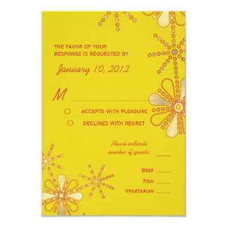 """Yellow & Gold Indian Inspired RSVP Meal Options 3.5"""" X 5"""" Invitation Card"""