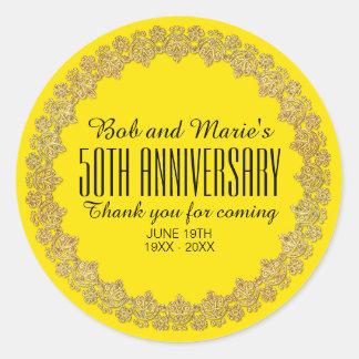 Yellow, Gold Personalized 50th Wedding Anniversary Classic Round Sticker