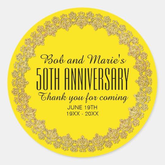 Yellow, Gold Personalized 50th Wedding Anniversary Round Sticker