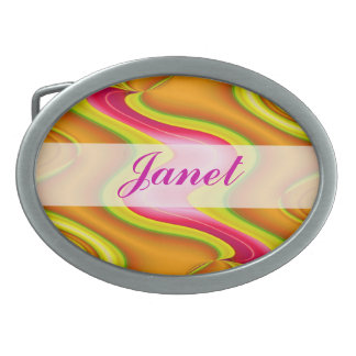 Yellow gold pink colorful abstract design oval belt buckles