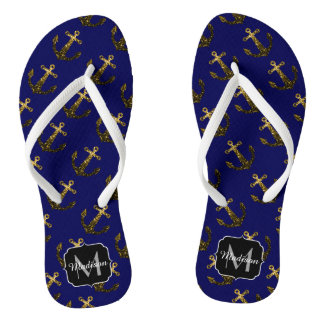 Yellow Gold sparkles Anchor pattern Monogram Flip Flops