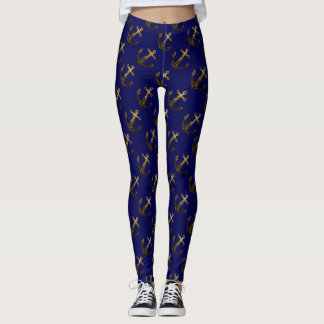 Yellow Gold sparkles Anchor pattern on navy blue Leggings