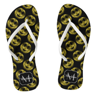 Yellow Gold sparkles Happy Smiley pattern Monogram Flip Flops