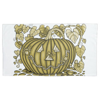 Yellow-Gold Spidery Pumpkin Pillowcase