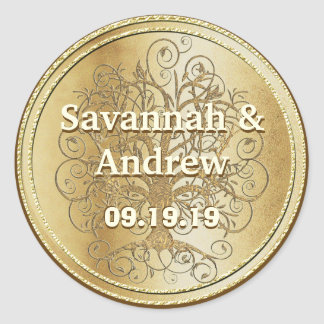 Yellow Gold Swirl Tree Gold Wedding Seal Round Sticker