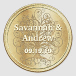Yellow Gold Swirl Tree Gold Wedding Seal Round Stickers