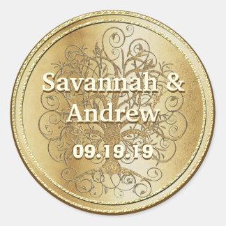 Yellow Gold Swirl Tree Gold Wedding Seal Round Stickers