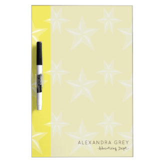 Yellow gold with big white stars patterned dry erase board