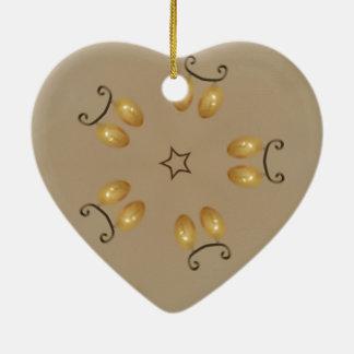 Yellow Golden Egg Pattern Easter Eggs Rustic Beige Ceramic Heart Ornament