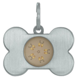 Yellow Golden Egg Pattern Easter Eggs Rustic Beige Pet Tag