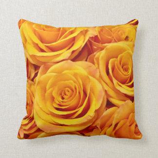 Yellow Golden Roses Throw Pillow